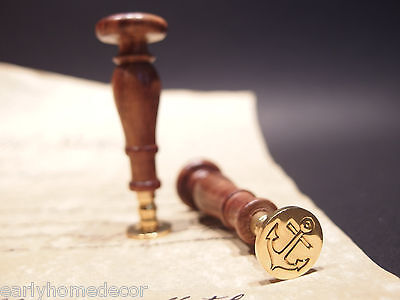(1) Antique Vintage Style Wax Seal Brass Letter Stamp Nautical Marine Anchor