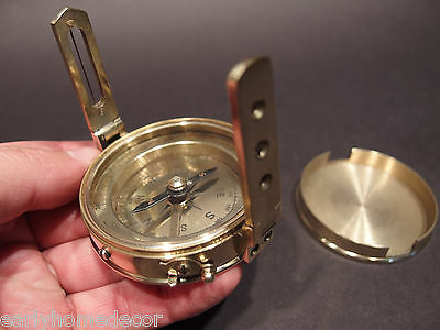 Antique Vintage Style Brass Encampment & Fortification Surveyors Compass