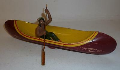 Elastolin Vintage Composition Wild West Indian Paddling A Canoe