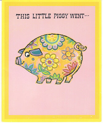 Vintage Birthday Card Groovy Mod Pig Norcross Pink and Yellow