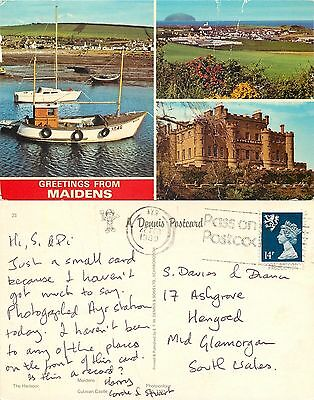 s08230 Maidens, Ayrshire, Scotland postcard posted 1989 stamp
