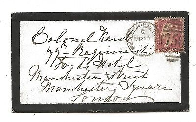 1877 Budleigh Salterton Mourning Cover Duplex to Colonel Kent 77th Regiment