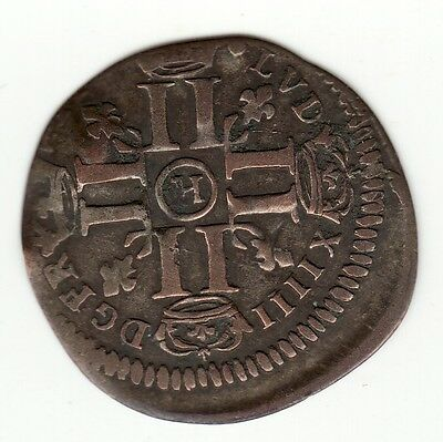 Rare 1694 H recoined billon sol with residual 1640 lis c/m, French Colonial