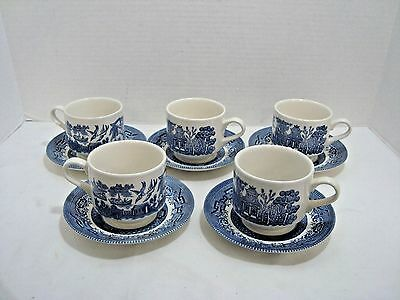 Churchill Blue Willow Cups and Saucers  England Set of 6