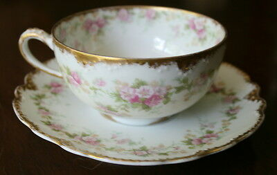 Theodore Havlland LIMOGES 1904-25 Teacups & Saucers White Gold Morning Glories