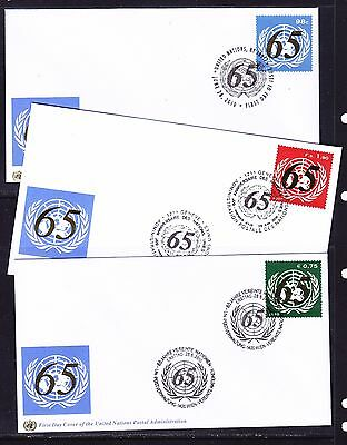 UN 2010  - 65th Anniversary  set 3 Covers First Day Covers  Unaddressed