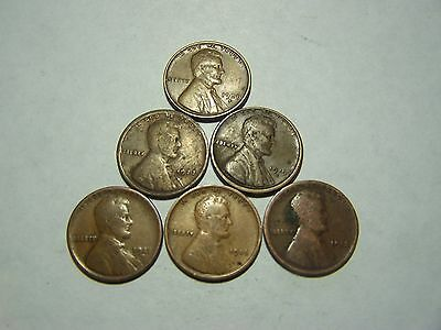 6-Lincoln Wheats 1913 1916 1917-D 1919-S 1923 1938-S