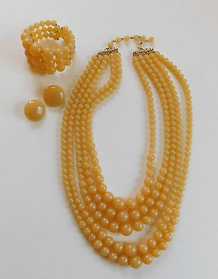 Vintage Lucite Yellow Multi Strand Bead Necklace Bracelet Earrings Set #137