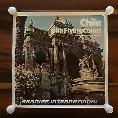 1970s Braniff International Airlines Flying Colors Travel Poster Chile Santiago