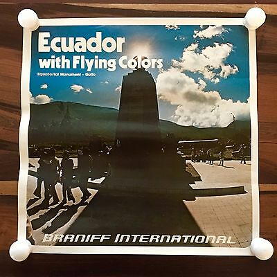 1970s Braniff International Airlines Flying Colors Travel Poster Ecuador Quito