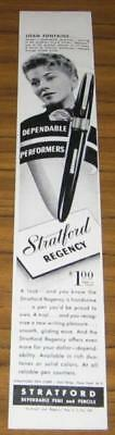 1946 Ad~Stratford Regency Pens~Actress Joan Fontaine