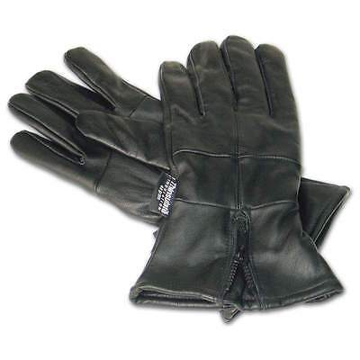 Motorcycle Winter Gloves Solid Leather Gauntlet w Zipper New Thinsulate Lining
