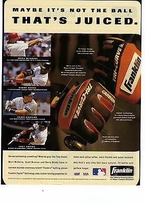 """1999 Franklin Batting Gloves """"Not The Ball That's Juiced""""  Print Advertisement"""