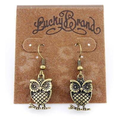 Lucky Brand Gold Tone Double Sides Owl Dangle Earrings