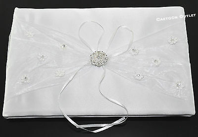 Wedding Guest Book Autograph Book White Satin Bow Libro De Boda Blanco Firmas