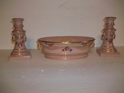 Rare Abingdon Pottery Pink Gold Drapery Console Bowl Candlestick Candle Holders