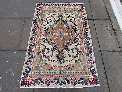 Old Traditional Persian Rug Wool White Oriental Hand Made Small Rug 147x95cm