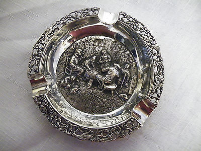 Rare Vintage Silver Plate Ashtray Card / Gambling Scene makers marks