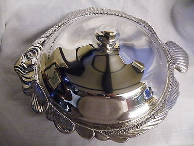 Large Antique/ Vintage Silver Plated Fish Shaped Lidded Serving Dish
