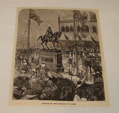 1886 magazine engraving ~ STATUE OF PRINCE OF WALES, UK