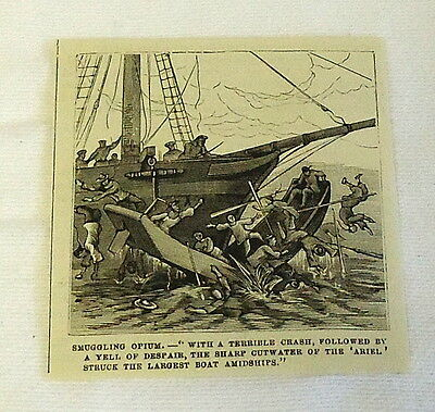 small 1882 magazine engraving ~ SMUGGLING OPIUM, Large Boat Strikes Small Boat