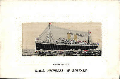 Woven Silk RMS Empress of Britain by T Stevens. Canadian Pacific Line