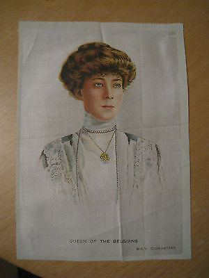Great War WW1 Large Silk Cigarette Card - Queen of the Belgians (BDV Cigarettes)