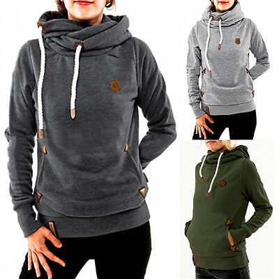 UK 8-24 Women Hooded Hoodies Fleece Sweatshirt Casual Loose Tops Pullover Plus
