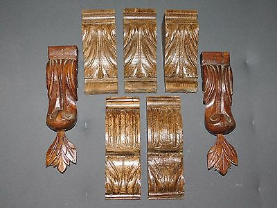 7 Ornements/frontons Anciens /corniches Bois Sculpte Deco Restauration F341