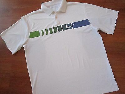 Mens White NIKE TOUR PERFORMANCE GOLF POLO SHIRT (XL) *NICE COND*