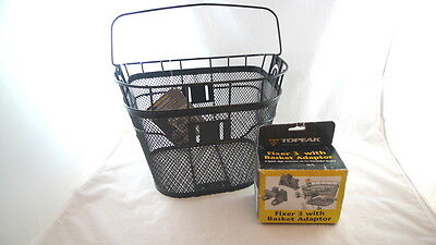 Topeak Front Handle Bar Removable BICYCLE BIKE BASKET With Fixer 3 Adaptor