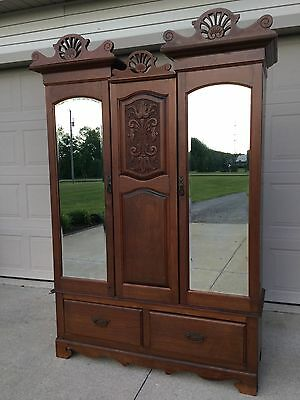 Beautiful Primitive, Vintage, Antique Mahogany Wardrobe / Armoire / Chest