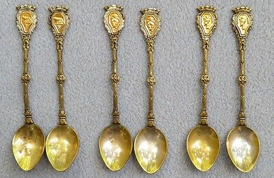 Set of SIX Silver Silverplate Silverplated Italy Demitasse Spoons Gold Crests