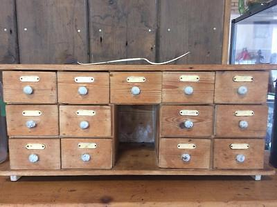Small Antique Bank of Drawers Apothecary Medicine or Spice Kitchenalia