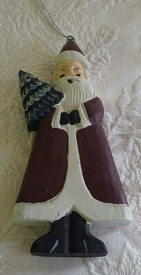 """Bath & Body Works Christmas 1994 Wooden Santa Wood Ornament Collectible 9"""" Tall"""