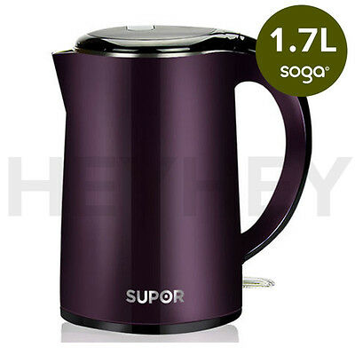 1.7 Litre 18/10 Food Grade Stainless Steel Electric Kettle Kitchen New PURPLE
