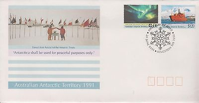 AAT 1991 Australian Antarctic Treaty First Day cover Kingston set 2 stamps