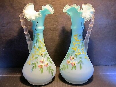 Pair Antique Mt. Washington Blue Satin Hand Decorated Art Glass Handled Ewers