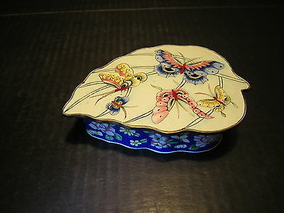 Ornate Old Oriental Cloisonne Metal Butterflies Lid Decorated Leaf Shaped Box