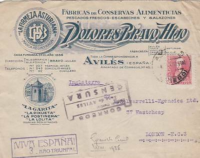 Rare 1938 Spanish Civil War Advertising Cover Posted From Aviles To England 30*