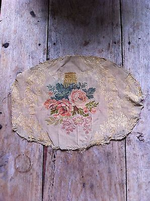 VINTAGE Lovely French floral piece of fabric Tapestry Needlepoint Boho