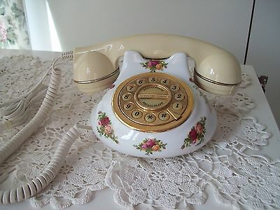 Royal Albert Old Country Roses Push Button Telephone Working Order Excellent
