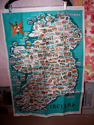 "Irish linen towel from Ireland rare Scenic & Historical Map 21""x30"" large SUPERB"