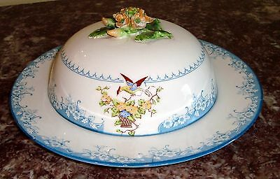 Crown Staffordshire England ROUND COVERED BUTTER DISH with Applied Flowers