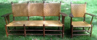 Rare Western Shaker Three-Seat Sofa + Chair Rush Seats Old Hickory Style