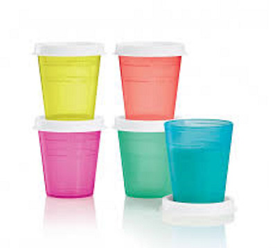Tupperware 5-pc Tupper Minis Set 2 ounce Midgets Coral Pink Green Blue Pink