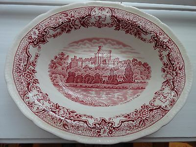 "Antique Royal Swan ""Historic Castles"" English China, 8"" Oval Vegetable Bowl"