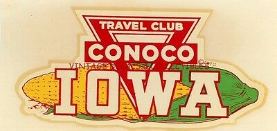 VINTAGE CONOCO TRAVEL CLUB IOWA CORN SOUVENIR TRAVEL DECAL STATE WINDSHIELD 50s