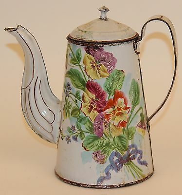 French Enamelware Coffee Pot Floral W/butterfly