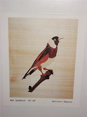 "UNUSED MARQUETRY CRAFT PICTURE KIT ART VENEERS CO. LTD. GOLDFINCH 421 10"" x 8"""